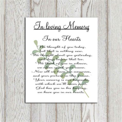 memory poem template memorial printable in loving memory print memorial table