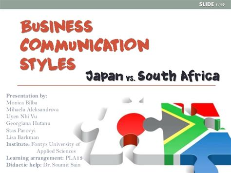 Business Schools In South Africa Mba by Business Communication Styles Japan Vs South Africa Draft