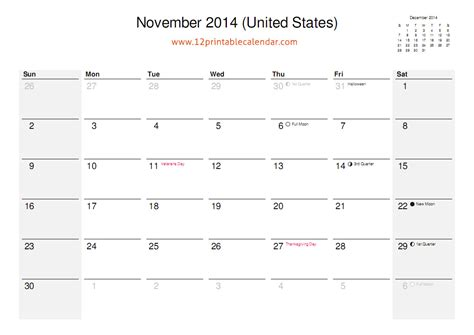 printable calendar 2014 november 8 best images of nov 2014 calendar printable template