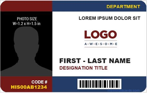 employee id card template free 8 best company id card templates ms word microsoft word