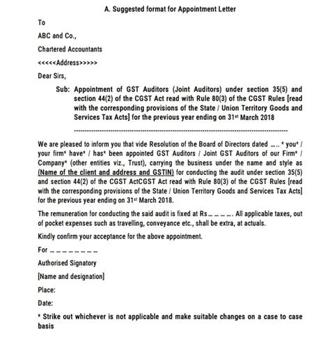Tax Appointment Letter