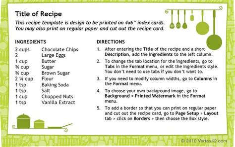 4x6 recipe card word template recipe card templates free premium templates