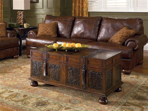 richmond brown trunk console table brown rectangular cocktail coffee table vintage traditional living storage ebay