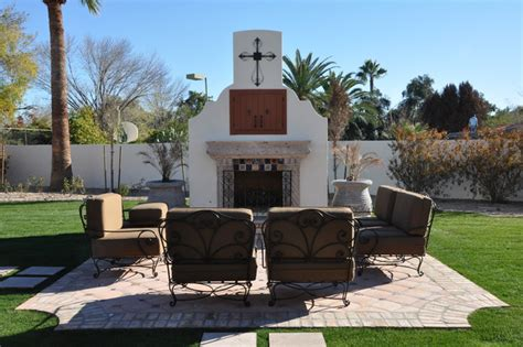 Mission Style House Plans outdoor fireplace w seating area