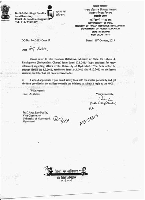 Official Letter Ministry Read The Letters Hrd Ministry Sent Hyderabad About Anti National Activities On Cus