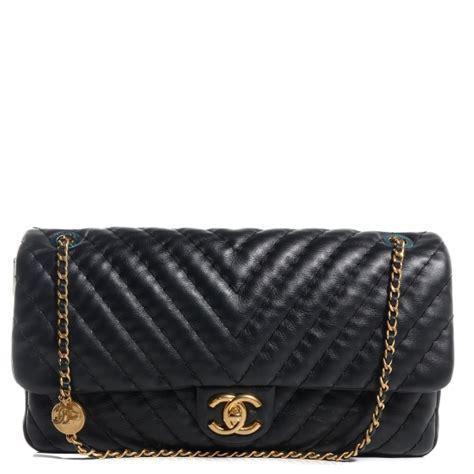 Tas Chanel Sevron Import chanel calfskin surpique chevron large flap black 76507