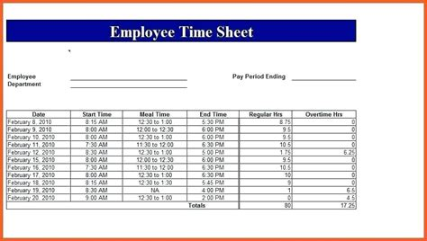Employee Time Card Template Free Weekly by Time Card Template For Excel Ereads Club