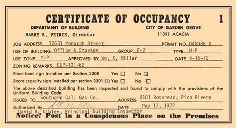 certificate of occupancy template garden grove base
