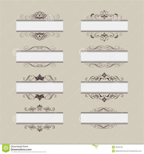 retro vintage design elements vector set vintage vector frame border set stock vector image 42523160