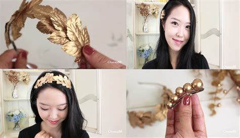 How To Make Handmade Hair Bands - diy hair accessories gold leaf headband and hair