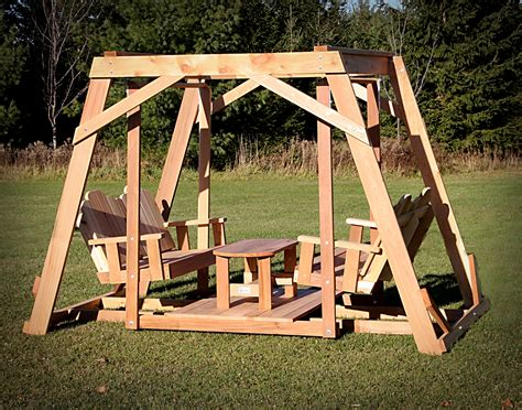 Framed Four Seat Cedar Swing w/ Center Platform & Table