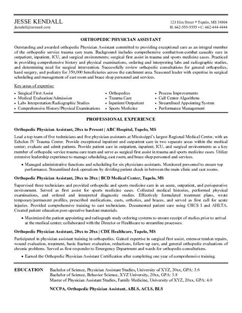 physician assistant resume exles exle orthopedic physician assistant resume free sle