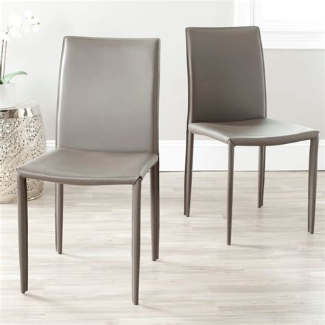 Gray Leather Dining Room Chairs Jazzy Bonded Leather Grey Side Chair Set Of 2 Contemporary Dining Chairs By Overstock