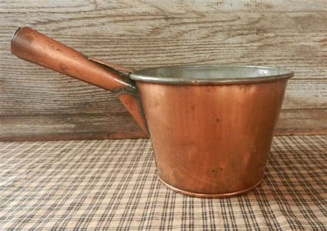 Handmade Dairy - antique copper milk pan from dairy farm early primitive