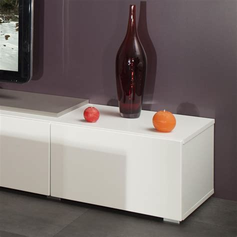 Meuble Tv Design Taupe Laqu 233 Blanc Declic Meubles Tv