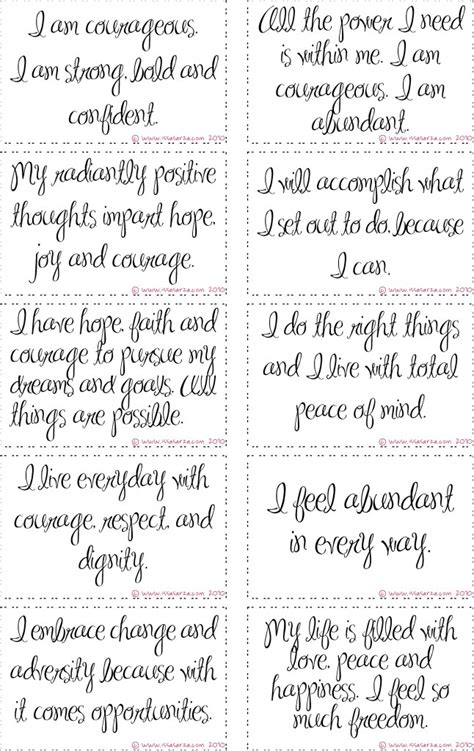printable daily quotes free printable courage affirmation cards work women s