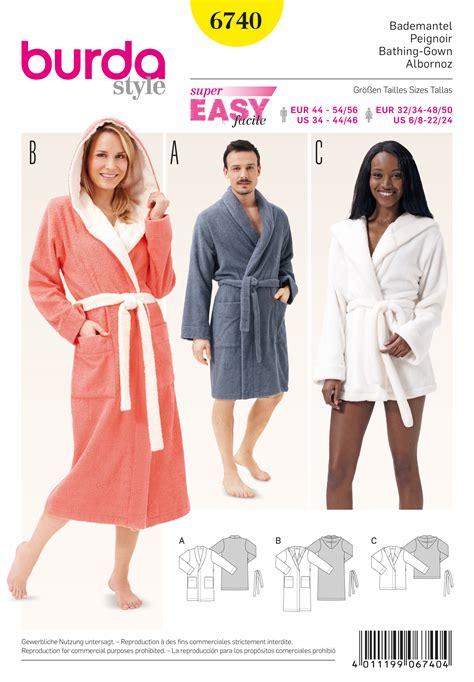 patron robe de chambre femme gratuit burda 6740 bathrobes