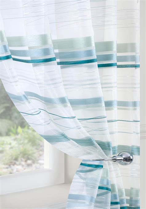 striped teal curtains voile metropole teal curtain aqua stripe fabric showy blue