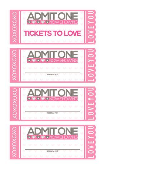 printable tickets and coupons free printables online free printable tickets to love valentine coupon book