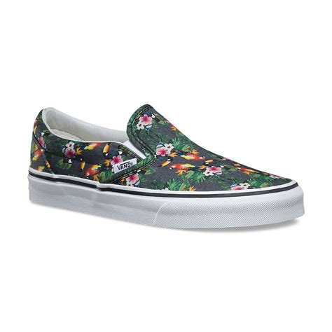 Vans Slop For vans classic slip on chambray parrot true white
