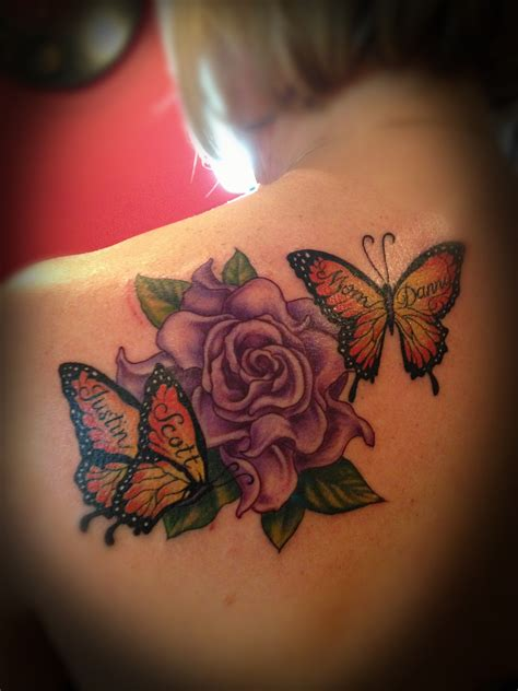 butterfly name tattoo designs flower and butterfly www