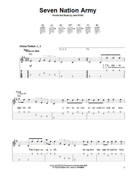 drum tutorial seven nation army seven nation army by the white stripes easy guitar tab