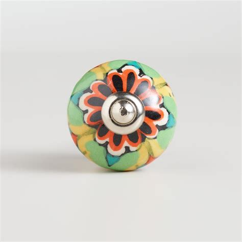 World Market Knobs by Multicolored Floral Ceramic Knobs Set Of 2 World Market