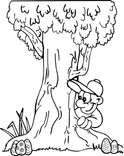 easter egg coloring page an outdoor egg hunt by a tree