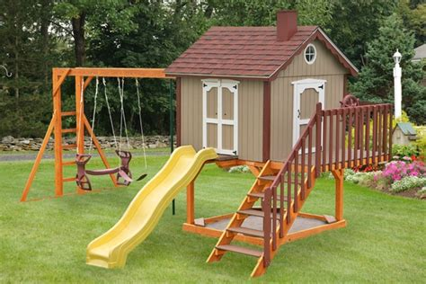 playhouses with slide and swings cute playhouse playhouse with sandbox swings slide