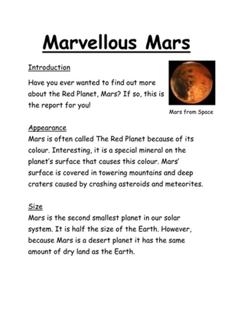 non chronological report template marvellous mars non chronological report by willis 88