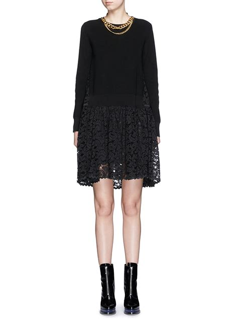 black cotton knit dress sacai cotton knit lace combo sweater dress in black lyst