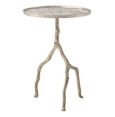 Silver Side Table Forest Park Silver Hammered Iron Branch Sculpted Side Table Kathy Kuo Home