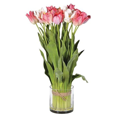 Artificial Tulips In Glass Vase by Large Artificial Pink Tulip Arrangement In A Glass