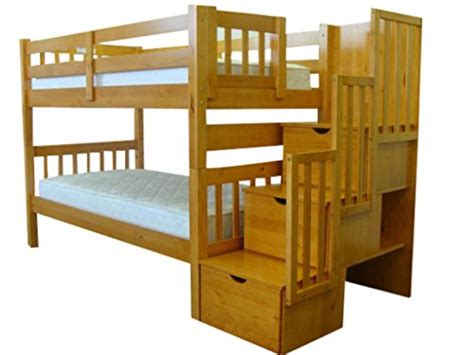 King Bunk Beds With Stairs King Stairway Bunk Beds Storage Drawers Ladder Steps Wooden Honey Ebay
