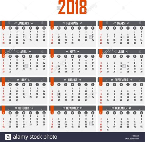 Calendar 2018 In Weeks Calendar For 2018 Week Starts On Sunday Stock Vector