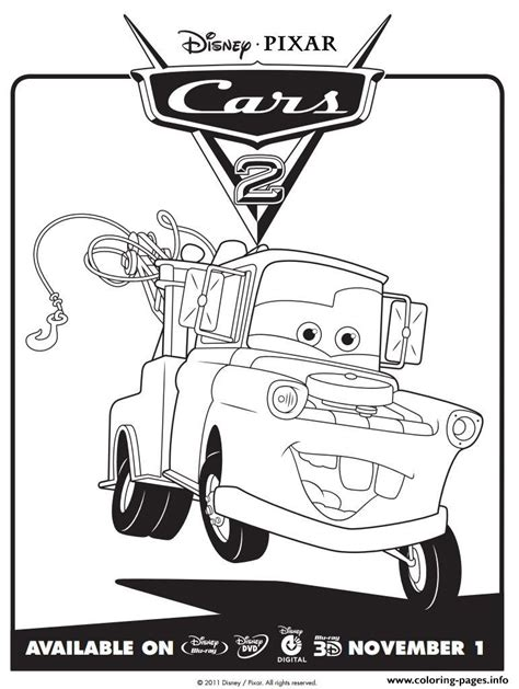 coloring pictures of mater from cars disney cars 2 mater coloring pages printable