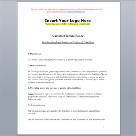 access policy template customer service standard policy template accessibility