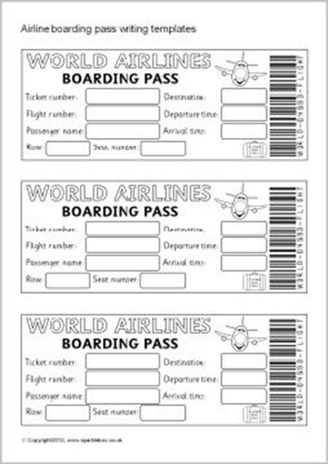 Boarding Card Template by Airline Ticket Boarding Pass Writing Templates Sb7770