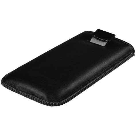 Samsung Galaxy S3 Weiß 1671 by Igadgitz Black Genuine Leather Pouch With Elasticated Pull