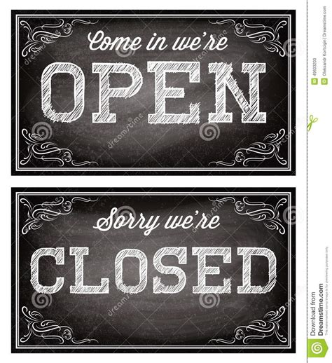 Open Closed Sign Template by Templates For Open And Closed Signboards Retro Style Stock