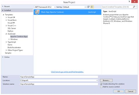 cordova tutorial android visual studio developing kapsel apps with visual studio sap blogs