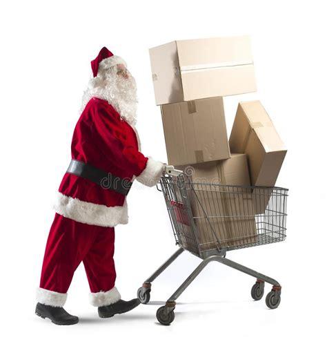 santa claus with shopping cart royalty free stock