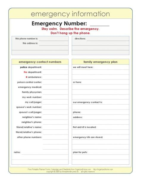 emergency information form template emergency information doomsday or emergency prepping