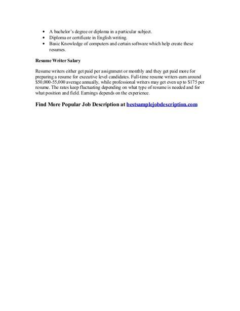 Resume Writer Job Description by Resume Writer Job Description