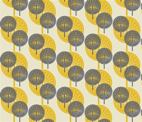 Blue Grey Upholstery Fabric Dandelion Grey And Yellow Fabric Sary Spoonflower