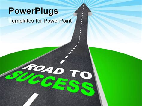 success powerpoint templates the road to success words on arrow going up powerpoint