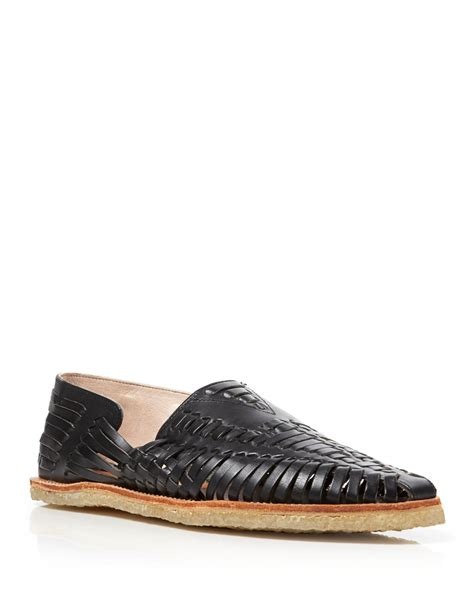 woven leather loafers toms huarache woven leather loafers in black for lyst