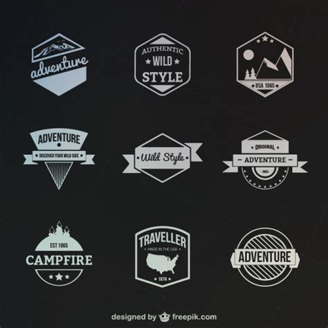 logo outdoor retro style outdoor and adventure badges vector free
