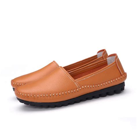 soft leather loafers womens casual outdoor leather soft comfortable slip on flat