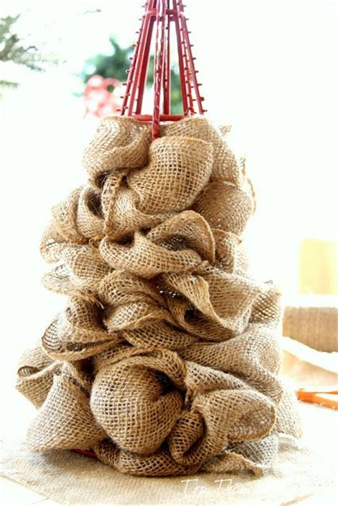 burlap trees and ornaments on pinterest